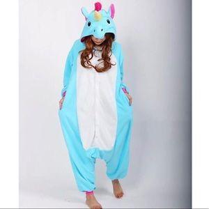 unisex adult blue unicorn onesie - size M